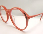 1980s  Coral color vintage eyeglasses rounded lens , Demo lens intact New old stock