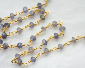 6 Feet Faceted Iolite stones hand wire wrapped with 18k Gold Vermeil Chain