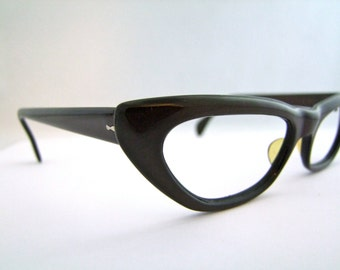 1950s Cats Eye  Eyeglasses // 50s Vintage Frames // Taupe Brown //  made in Spain