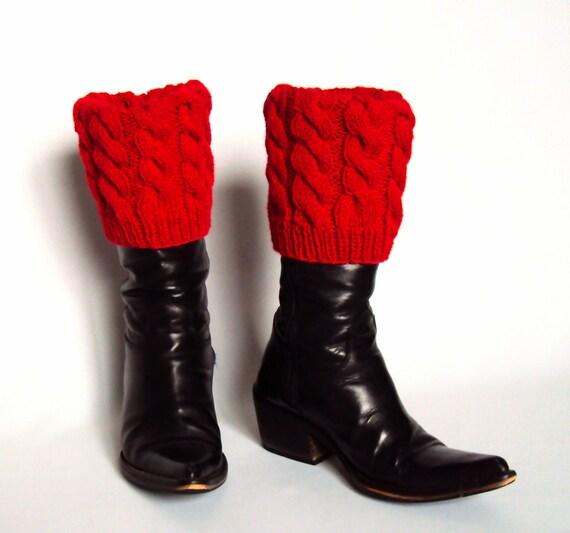 Boot Cuff/Boot Sock/Leg Warmer - Knitted in Red Yarn