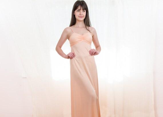 1970s Peach Maxi Dress - 70s Dress - Spring Peach Jersey Gown - XS