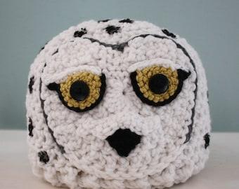 Snowy Owl Hat, Owl Hat, Crochet Beanie, Holiday Gift, Halloween Costume, Men, Women, Boys, Girls, Winter Hat, White Owl, Snow Owl Hat, Bird