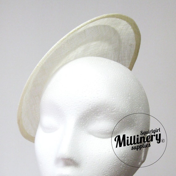 Large Round Ivory Saucer Sinamay Fascinator Hat Base for Millinery