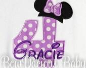 Girls Birthday Shirt, Minnie Mouse Birthday Shirt, Minnie Available, Custom Fabrics, Girls Birthday Shirt, Shirt, Tank,Bodysuit ,Gift