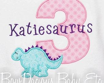 Girls Dinosaur Birthday Shirt, Number, Monogrammed, Appliqued, Shirt, Tank,Bodysuit,Romper,Sizes 3 months up to 12 years,Gift
