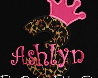 Princess Birthday Shirt, Leopard Birthday Shirt, Princess Crown Birthday Shirt