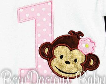 Personalized Monkey Birthday Shirt, Number, Monogrammed, Appliqued, Custom Fabric, Girls Birthday Shirt, Shirt, Tank,Bodysuit,Romper, Gift