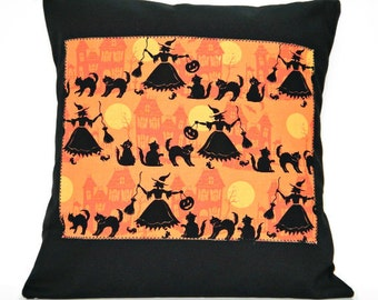Witches Halloween Pillow Cover Cushion  Black Cats Haunted Houses Orange Mustard Decorative 16x16