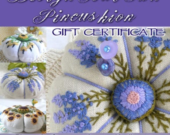 Gift Certificate- Custom Linen Pincushion with one flower of your choice - Made to Order