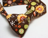 Bow tie Brown, Orange, Green Fall Print Thanksgiving  for Newborns - Adults