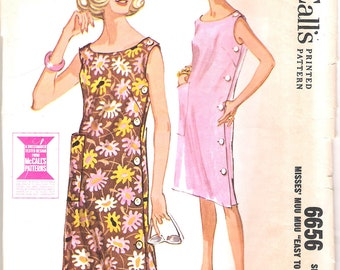 Vintage 60s Dress Pattern Side Button Slim Muu Muu Sheath Shift McCalls 6656 size 18 20 M L 38 40 bust
