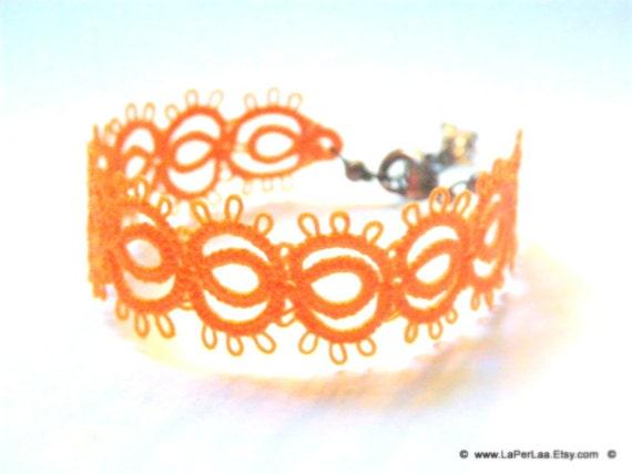Filigree Lace Tatted Bracelet Cuff Vintage Feel - FAKE TATOO - etsy orange