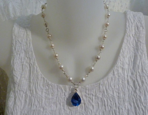 Reserved for mkircher1, luxury necklace, AAA London blue topaz, high quality FW pearls, fine jewelry, handmade quality