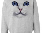 CAT FACE SWEATSHIRT unisex pullover crew neck --  s m l xl xxl xxxl