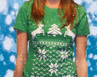 Ugly Christmas Sweater t shirt -- Women's deer jumping -- S M L XL XXL skip n whistle
