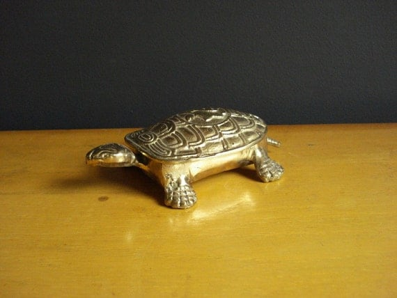 Slow Brass - Vintage Brass Turtle Figurine or Paperweight - Hinged Turtle Box