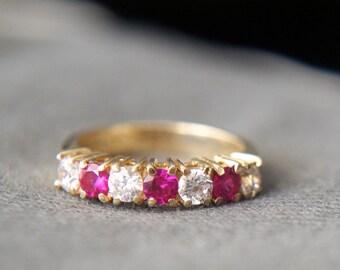 Rubies & Zirconia 14K gold band ring