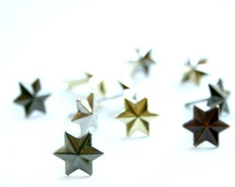 10 Tiny Metallic Star Brad Embellishments - Scrapbooking, Flower Middles