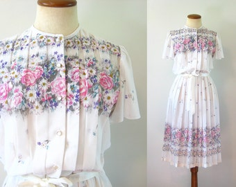 1970s Day Dress Mini Sheer White Floral Ribbon Trim Flutter Bell Sleeves Fitted Waist Button Up Pleated Skirt Vintage 70s Belt Boho Small S