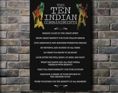 The Ten Indian Commandments - 18x24 Canvas Print / Inspirational typographic art