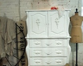 Painted Cottage Chic Shabby White Romantic French Dresser CH362