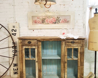Painted Cottage Chic Shabby Hand Made Farmhouse Cabinet SV302