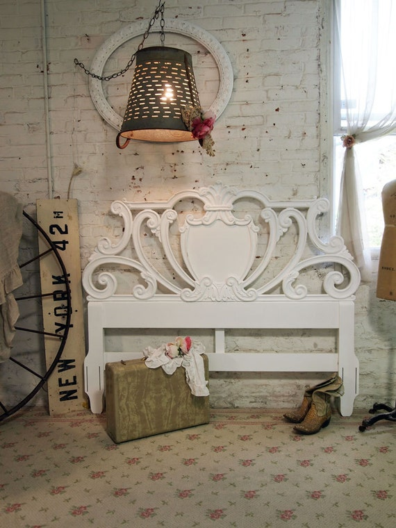 Painted Cottage Chic Shabby White Romantic Headboard FULL / QUEEN BD405