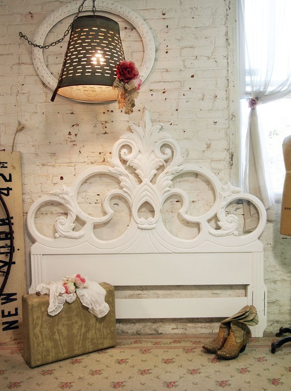 Painted Cottage Chic Shabby White Romantic Headboard FULL / QUEEN BD406