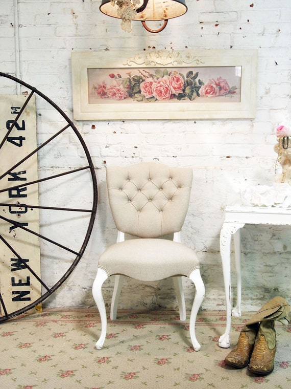 Painted Cottage Chic Shabby Tufted French Boudoir Chair CHR358
