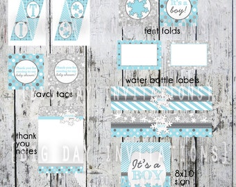 BOY Baby Shower Winter Wonderland Party Pack - NOT personalized - Instant Download - Printable - Snow themed DIY Package