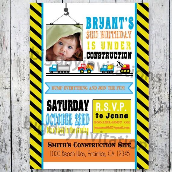 Items Similar To Construction Birthday Invitation