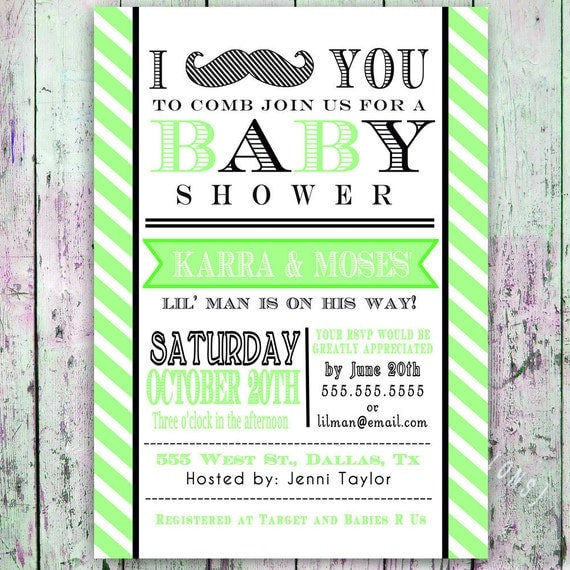 Little Man Mustache Baby Shower Invitation    Digital Printable Custom  Invites