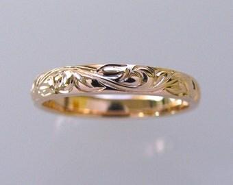 3mm 14k Rose Gold Vine and Leaf Hand Engraved Wedding Band