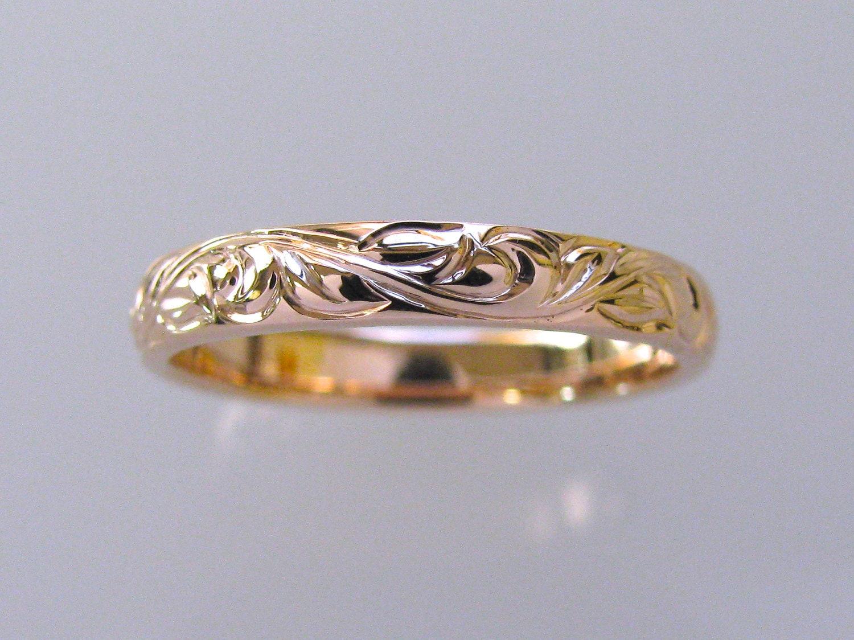 3mm 14k rose gold vine and leaf hand engraved wedding band. Black Bedroom Furniture Sets. Home Design Ideas