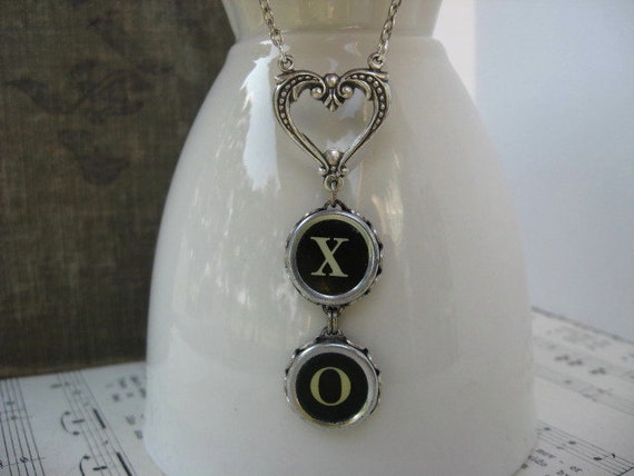 Typewriter Keys - Jewelry - Necklace - X and O - Hugs and Kisses