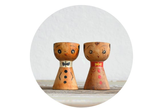 old wooden egg cups couple