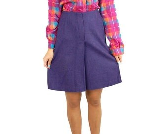 Purple wool skirt, 1960s skirt, preppy skirt, Back to School, White Stag, Size S/M