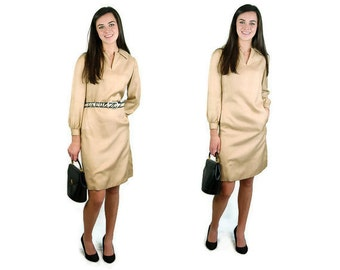 1960s silk dress, Charles Cooper dress, gold silk dress, career dress, Size M