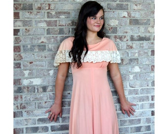 1960s maxi dress, off shoulder ruffle, peach cream, lace ruffle, boho dress, long dress, Size M