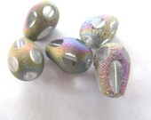 Iridescent Teardrop Briolettes 8 x 13mm, 5 pieces, Faceted and Brilliant