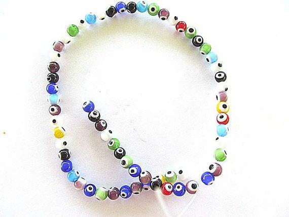 Evil Eye Beads Assorted colors 5mm, Full strand