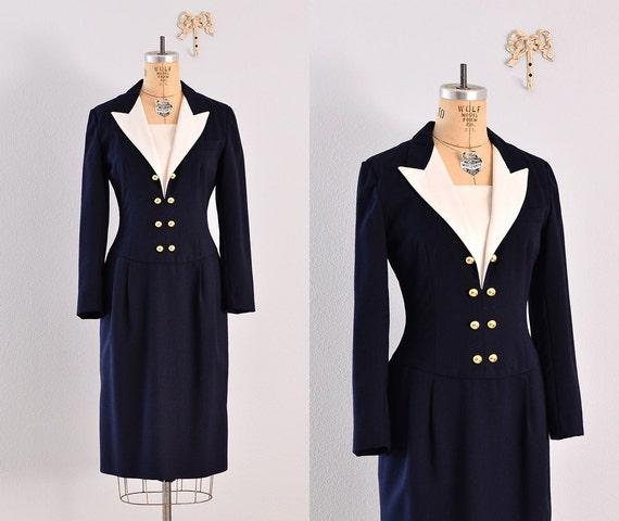 1980s dress / sailor style  / 80's navy blue dress