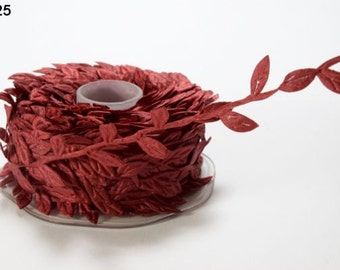 Leaf Satin Ribbon - Burgundy - 1 inch  - You Choose Yards