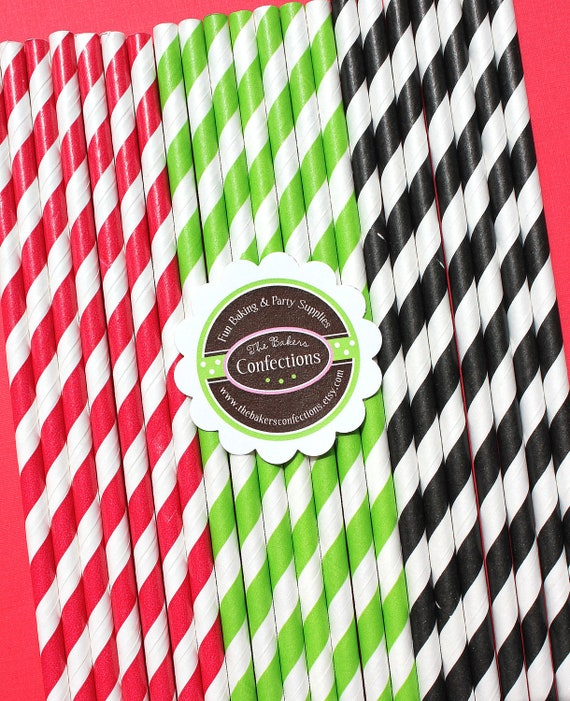 Pirate Party Striped Paper Straws - Includes Printable DIY Flag Toppers & Pixie Stix Recipe (30 count) Use for Cake Pops and Drink Markers