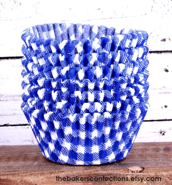 SALE- Blue Gingham Check Cupcake Liners, Baking Cups (100) Half Price Sale!