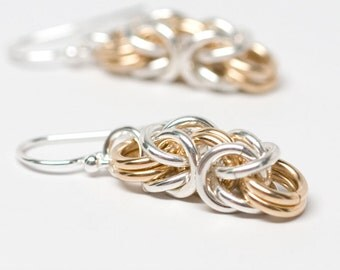 Byzantine Earrings.Sterling silver & 14K gold filled chainmaille earrings.