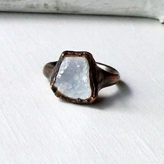 Copper Ring Druzy Geode Gemstone Frost Snow White Rough Mineral Stone Crystal Handmade Raw Artisan