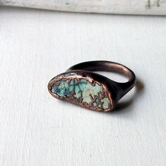 Copper Ring Turquoise December Birthstone Handmade Ring Simple Raw Modern Robins Egg Blue