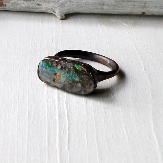 Copper Boulder Opal Ring Electric Green Stone October Birthstone Natural Raw Patina Artisan