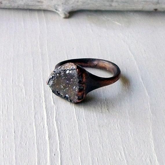 Ring Druzy Copper Geode Agate Gem Stone Frost Sugared Grey White Handmade Artisan